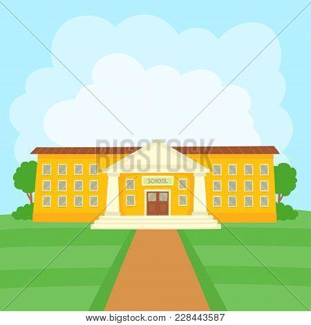 Color Vector Illustration Of School Building On Grass For School Banner Or Poster Design.