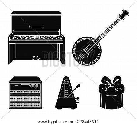 Banjo, Piano, Loudspeaker, Metronome. Musical Instruments Set Collection Icons In Black Style Vector