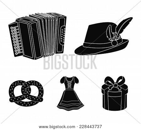 Tyrolean Hat, Accordion, Dress, Pretzel. Oktoberfestset Collection Icons In Black Style Vector Symbo