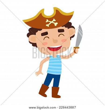 Vector Set Of Cute Cartoon Kid In Colorful Halloween Costume: Pirate. Cartoon Character Design Of Bo