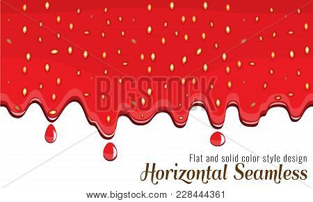 Realistic Drips Of Strawberry Jam With Flat And Solid Color Design On White Background. Flowing Syru