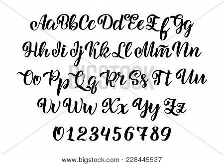 Vector Hand Drawn Typeface. Brush Painted Letters. Handwritten Script Alphabet Isolated On White Bac