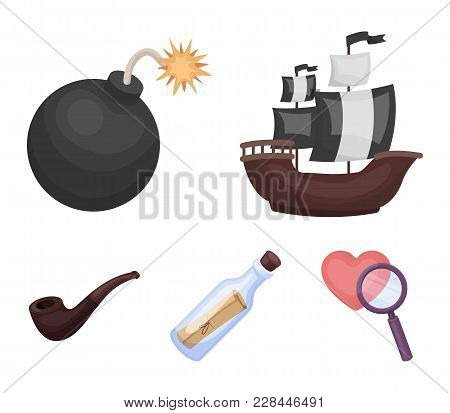 Pirate, Bandit, Ship, Sail .pirates Set Collection Icons In Cartoon Style Vector Symbol Stock Illust