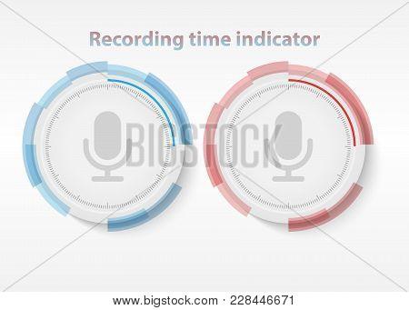 Color Recording Indicators. Set Of Color Indicators For Voice Recording.