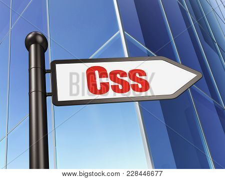Programming Concept: Sign Css On Building Background, 3d Rendering