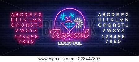 Tropical Cocktail Neon Sign. Cocktail Logo, Neon Style, Light Banner, Night Bright Neon Advertising