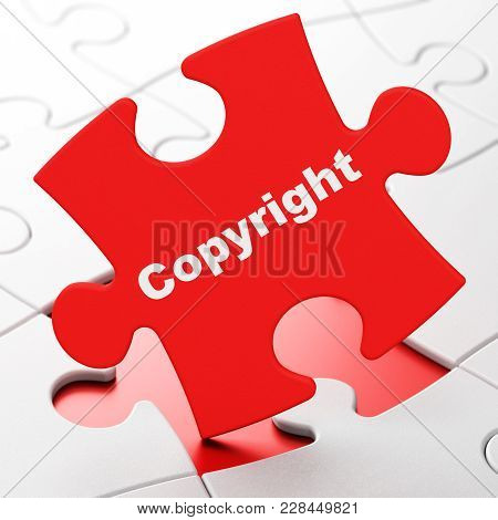 Law Concept: Copyright On Red Puzzle Pieces Background, 3d Rendering
