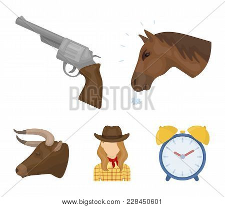 Head Of A Horse, A Bull's Head, A Revolver, A Cowboy Girl. Rodeo Set Collection Icons In Cartoon Sty