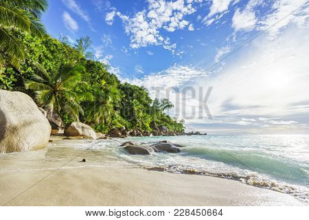 Paradise Tropical Beach With Rocks,palm Trees And Turquoise Water In Sunshine, Seychelles 20