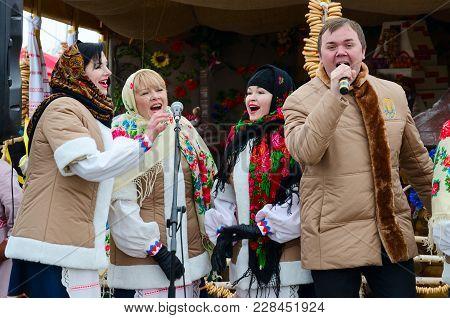 Gomel, Belarus - February 18, 2018: Performance Of Creative Team During Shrovetide Festivities Outdo