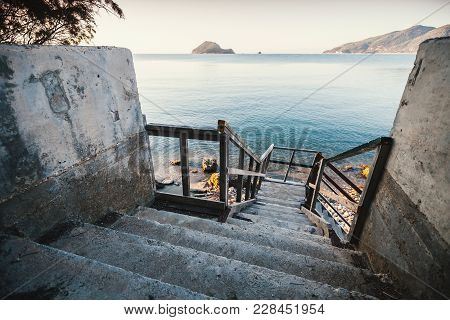 Perspective View Of Old Stairs Going Down To The Sea Coast, Zakynthos Island, Greece