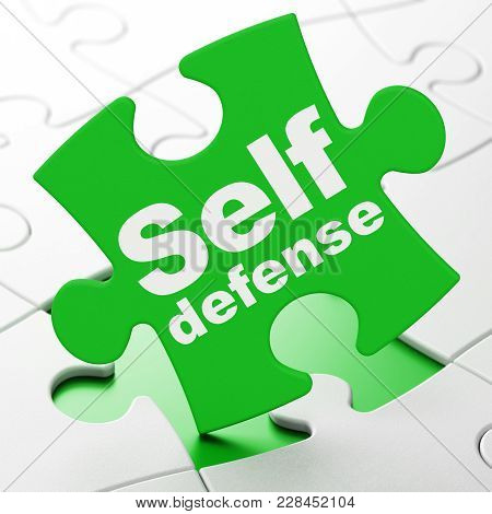 Protection Concept: Self Defense On Green Puzzle Pieces Background, 3d Rendering