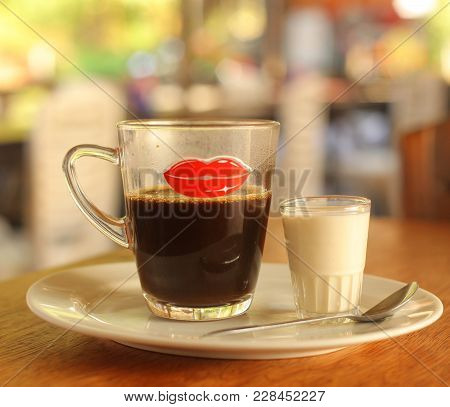 Asian Cofe With Milk Served On Table Close Up Photo