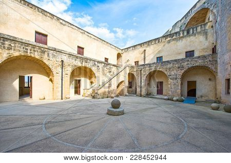 Otranto, Italy - April 11, 2010: The Main Courtyard Of The Aragonese Castle