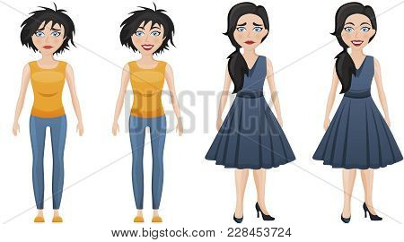 Set Of Emotional Women In Different Clothes. Sad And Happy Woman. Casual Business Clothes And Simple