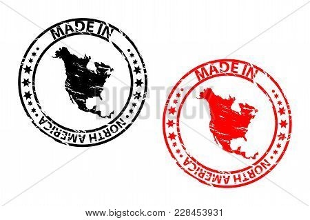 Made In North America - Rubber Stamp - Vector - North America Continent Map Pattern - Black And Red