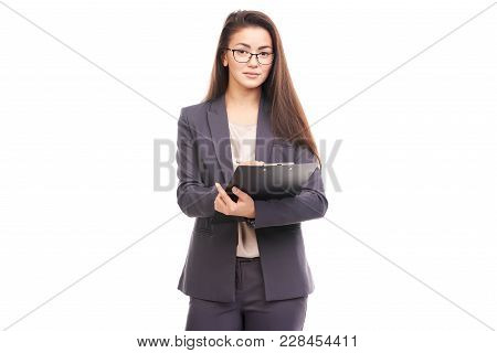 Portrait Of Female Financial Advisor Posing With Document On White Background