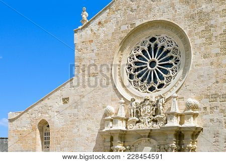 Italy, Otranto, Detail Of The Cathedral Facade