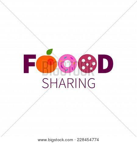 Foodsharing. Logo, Icon, Sign, Food Donation Symbol Food Sharing Lettering Vector Illustration
