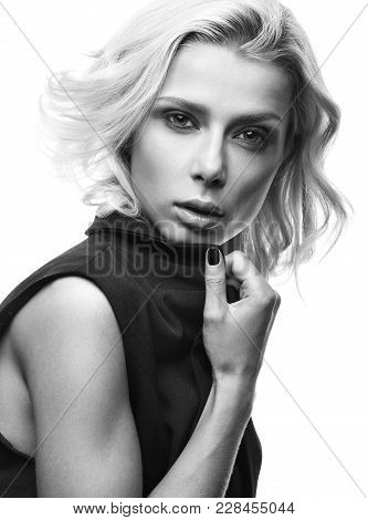 Black And White Fashion Portrait Of Beautiful Young Woman Isolated On White Background. Sensual Look