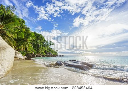 Paradise Tropical Beach With Rocks,palm Trees And Turquoise Water In Sunshine, Seychelles 31