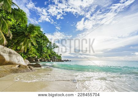 Paradise Tropical Beach With Rocks,palm Trees And Turquoise Water In Sunshine, Seychelles 33