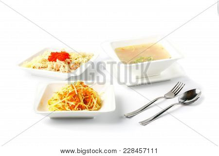 Spicy Udon Noodles In Dish Isolate On White