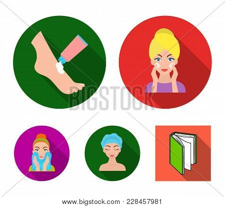 Face Care, Plastic Surgery, Face Wiping, Moisturizing The Feet. Skin Care Set Collection Icons In Fl