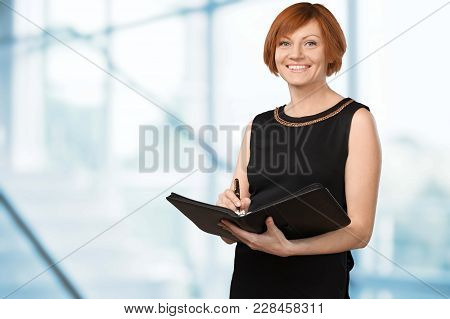 Holding Female Finance Folder Advisor Paper Happy