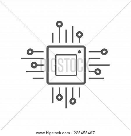 Microchip Line Icon. Cpu, Central Processing Unit, Computer Processor, Chip Symbol In Circle. Abstra