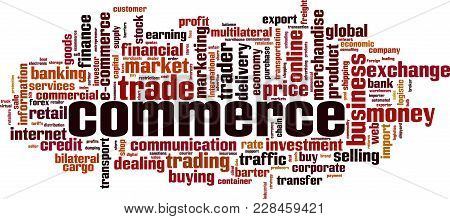 Commerce Word Cloud Concept. Vector Illustration On White