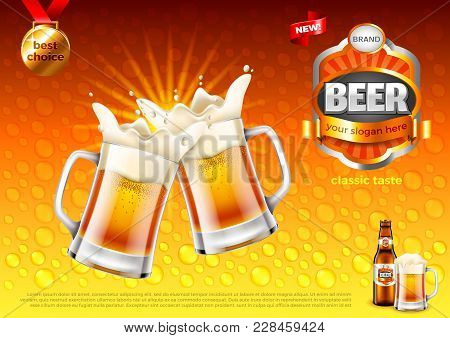 Beer Ads. Two Toasting Frothy Mugs On Gold Background. 3d Illustration And Design