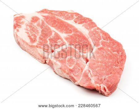 Raw Pork Neck Meat Cut Isolated On White Background Fresh One Slice Without Bone