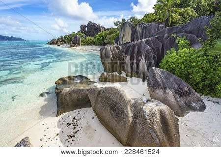 Rocks,white Sand,palms,turquoise Water At Tropical Beach,la Dique,seychelles Paradise 18
