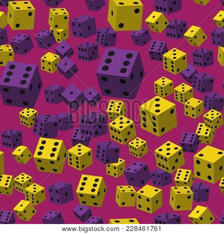 Yellow And Violet Dice Seamless Pattern On Violet Background