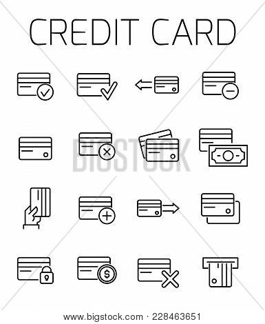 Credit Card Related Vector Icon Set. Well-crafted Sign In Thin Line Style With Editable Stroke. Vect