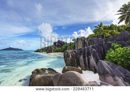 Rocks,white Sand,palms,turquoise Water At Tropical Beach,la Dique,seychelles Paradise 21