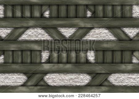 Wall Abstract- Wooden Frame Chalet Construction Elements, Struts, Stone. Decoration Facade- Panels O