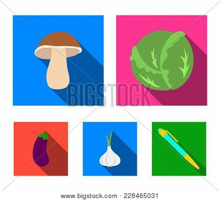 Cabbage White, Mushroom Forest, Garlic Useful, Eggplant. Vegetables Set Collection Icons In Flat Sty