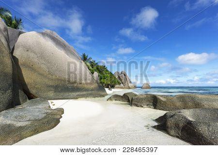 Rocks,white Sand,palms,turquoise Water At Tropical Beach,la Dique,seychelles Paradise 11