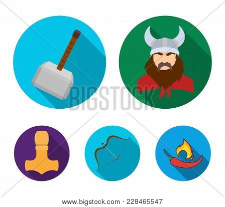 Viking In Helmet With Horns, Mace, Bow With Arrow, Treasure. Vikings Set Collection Icons In Flat St