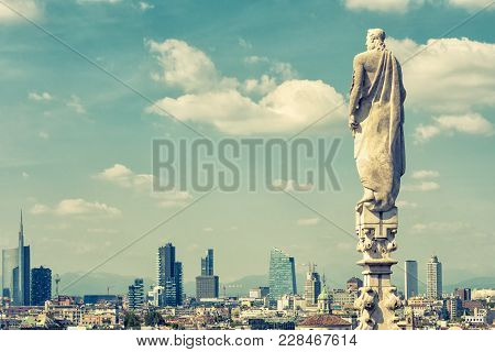 Milan Skyline With Modern Skyscrapers In Porto Nuovo Business District, Italy. Marble Statue On The