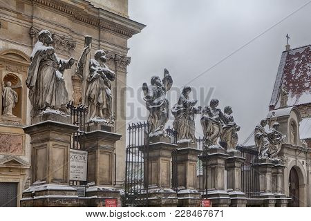 Krakow, Poland - February 12, 2018 Picture Of Apostles At Church Of St. Peter And Paul In Snow In Kr
