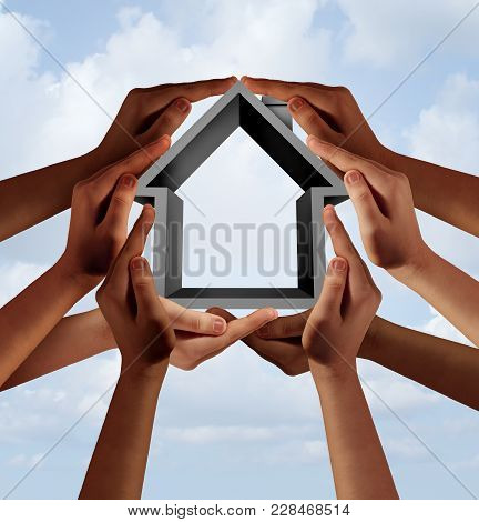 Social Housing And Affordable Community Property As A Group Of Diverse Hands Holding A Family House