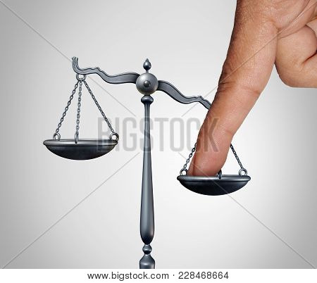 Tip The Scales Of Justice Concept As A The Finger Of A Person Illegaly Influencing The Legal System