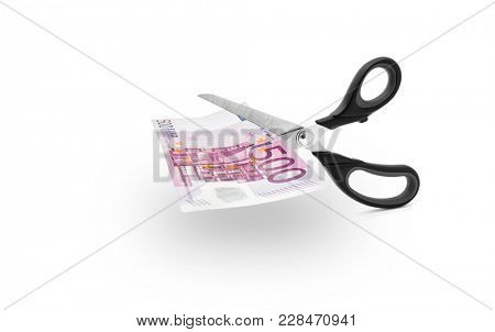 Scissors cutting money -Scissors to cut a 500 euro bill on white background, including clipping path