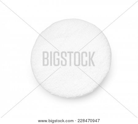 One round cotton cosmetic pad on white background, including clipping path