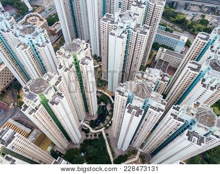 Top view of residential district in Hong Kong
