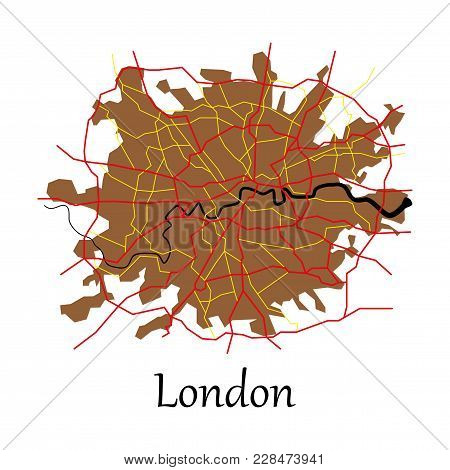 Flat Color Map Of London, United Kingdom. City Plan Of London. Vector Illustration