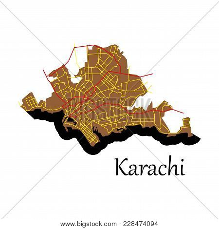 Karachi, Pakistan, Colorful Flat Map. Streets, Railways And Water. Bright Colored Landmark Shapes. A